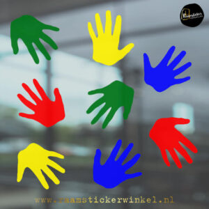 Raamsticker handjes kleuren mix