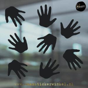 Raamsticker handjes zwart