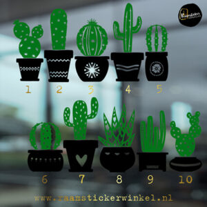 Raamstickers Cactus met figuurtjes alle 10