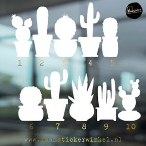 Raamstickers Cactus wit silhouette alle 10