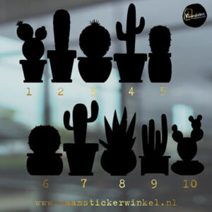 Raamstickers Cactus alle 10 zwart silhouette