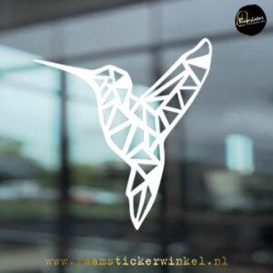 raamsticker Kolibrie geometrisch wit k