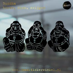 Raamsticker Buddha horen zien zwijgen RSW