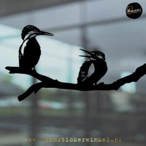 Raamsticker IJsvogels zwart RSW