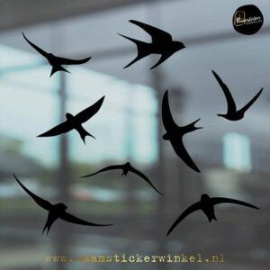 Raamsticker Vogels Zwaluwen Zwart RSW