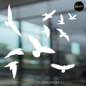 Raamsticker Vogels in vlucht wit RSW