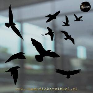 Raamsticker Vogels in vlucht zwart RSW