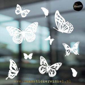 raamsticker vlinders wit RSW