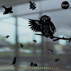 Raamsticker Herfst Uil zwart