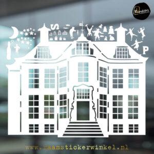 Pietenhuis raamsticker winkel wit