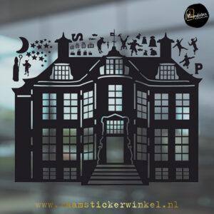 Raamsticker Pietenhuis Pietenhuis raamstickerwinkel zwart