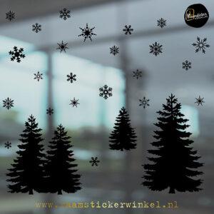 Raamsticker kerstbomen set van 3