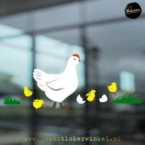 Raamsticker kip met kuikens RSW