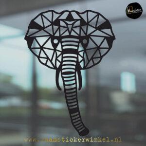 Raamsticker olifant geometrische zwart RSW
